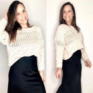 Sweaters - Chenille Open Stitch Cream Sweater